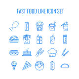 Set of line icons with fast food Royalty Free Stock Photography