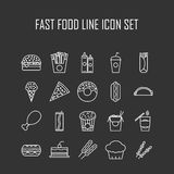 Set of line icons with fast food Stock Photo