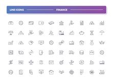 Set of 60 line icons. Finance. Collection. Vector illustration with money for banking, investment, business and transactions Royalty Free Stock Images