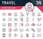 Set Vector Flat Line Icons Travel. Set  line icons in flat design travel, hotel service, resort vacation, tour planning, recreational rest, holiday trips for Royalty Free Stock Photography