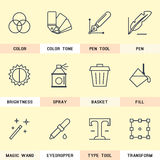 Set of line icons in the flat style. Royalty Free Stock Photos