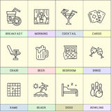 Set of line icons in the flat style. Royalty Free Stock Images