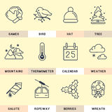 Set of line icons in the flat style. Set of vector icons in the flat style. Winter vacation and holidays Royalty Free Stock Image