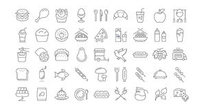 Set Line Icons Food Stock Photography