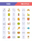 Set Line Icons Food. Big set  line icons meal, seafood, fruit, vegetables and fast food in flat design with elements for mobile concepts and web. Collection Royalty Free Stock Image