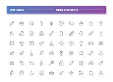 Set of 60 line icons. Food and drink. Collection. Vector illustration with elements for cafe, bar, pub and restaurant Royalty Free Stock Images