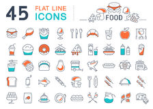 Set Line Icons Food Royalty Free Stock Photography