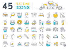 Set Line Icons Food Royalty Free Stock Photos