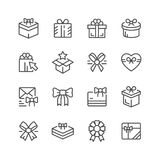 Set line icons of gift. Isolated on white. Vector illustration Royalty Free Stock Photos