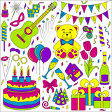 Set of line icons. Happy birthday and party events Royalty Free Stock Image