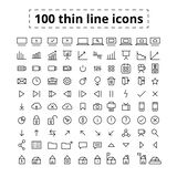 100 Line Icons. Set of line icons. Icons for web and interfaces. Set of different icons, such as arrows, buttons, buildings, and graph royalty free illustration
