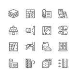 Set line icons of insulation. On white. Vector illustration Stock Photography
