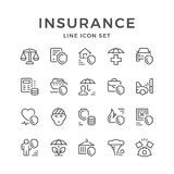 Set line icons of insurance. Isolated on white. Vector illustration vector illustration
