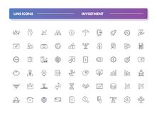 Set of 60 line icons. Investment. Collection. Vector illustration for increase money Royalty Free Stock Images