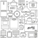 Set of line icons. Kitchen appliances and accessories. Oven and saucepan, fridge and teapot, stove and kettle. Contour icons. Info Royalty Free Stock Photo