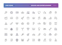 Set of 60 line icons. Leisure and entertainment. Collection. Vector illustration for internet and online work Vector Illustration