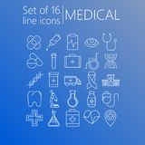 Set of 16 line icons of medical theme on a gradient background.  stock illustration