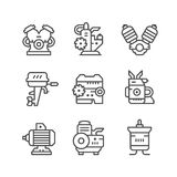 Set line icons of motor and engine Stock Photography