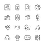 Set of line icons for music. Vector illustration. Royalty Free Stock Image