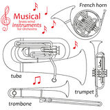 Set of line icons. Musical brass wind instruments for orchestra. Info graphic elements. Simple design. Good for coloring books. Vector illustration Royalty Free Stock Images