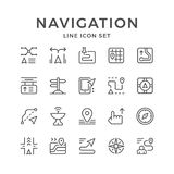 Set line icons of navigation. On white. Vector illustration Royalty Free Stock Photo
