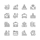 Set line icons of oil industry. Isolated on white. Vector illustration Stock Photography