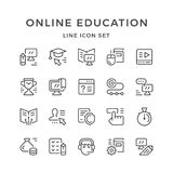 Set line icons of online education. Isolated on white. Vector illustration Stock Photo