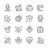 Set line icons of party. Isolated on white. Vector illustration Royalty Free Stock Photo
