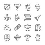 Set line icons of plumbing Royalty Free Stock Photos