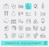 Set of line icons presenting various medical equipment. Royalty Free Stock Photos