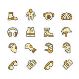 Set line icons of protecting equipment Royalty Free Stock Image