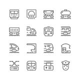 Set line icons of railroad. Isolated on white. Vector illustration Royalty Free Stock Photography