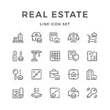 Set line icons of real estate. Isolated on white. Vector illustration Royalty Free Stock Image