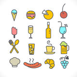 Set of line icons restaurant and food on white, vector  Stock Photography