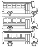 Set of line icons school buses. Set of line icons school buses on white background. Vector illustration Stock Photo