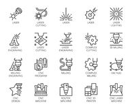 Set of 20 line icons in series of laser cutting. Computer numerical controlled printer, 3D milling machine. And other thematic symbols. Stroke mono contour vector illustration