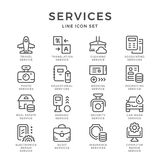Set line icons of services Stock Photo