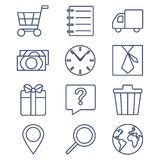 Set of line icons for shopping, e-commerce Stock Photography