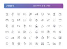 Set of 60 line icons. Shopping and retail. Collection. Vector illustration for store, discounts and promotions Royalty Free Stock Photography