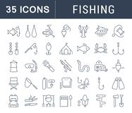 Set Vector Flat Line Icons Fishing. Set  line icons, sign and symbols in flat design fishing with elements for mobile concepts and web apps. Collection modern Stock Photo