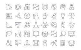 Set Vector Flat Line Icons Physic. Set  line icons, sign and symbols in flat design physic with elements for mobile concepts and web apps. Collection modern Royalty Free Stock Photos
