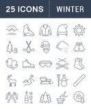 Set Vector Flat Line Icons Winter. Set  line icons, sign and symbols in flat design winter with elements for mobile concepts and web apps. Collection modern Royalty Free Stock Photo