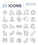 Set Vector Flat Line Icons Winter. Set  line icons, sign and symbols in flat design winter with elements for mobile concepts and web apps. Collection modern Stock Photography