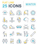 Set Vector Flat Line Icons Winter. Set  line icons, sign and symbols in flat design winter with elements for mobile concepts and web apps. Collection modern Stock Image