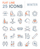 Set Vector Flat Line Icons Winter. Set  line icons, sign and symbols in flat design winter with elements for mobile concepts and web apps. Collection modern Stock Images