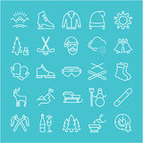 Set Vector Flat Line Icons Winter. Set  line icons, sign and symbols in flat design winter with elements for mobile concepts and web apps. Collection modern Royalty Free Stock Image