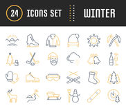 Set Vector Flat Line Icons Winter. Set  line icons, sign and symbols in flat design winter with elements for mobile concepts and web apps. Collection modern Royalty Free Stock Photography