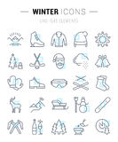 Set Vector Flat Line Icons Winter. Set  line icons, sign and symbols in flat design winter with elements for mobile concepts and web apps. Collection modern Stock Photo