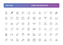 Set of 60 line icons. Sport and recreation. Collection. Vector illustration for activity life and gym, health. Team and single, extreme, water sports Stock Photo