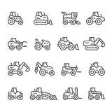 Set line icons of tractors Royalty Free Stock Photo